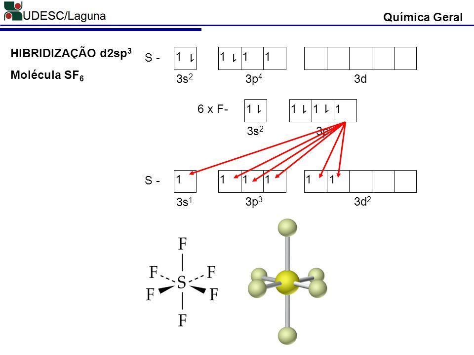Química Geral HIBRIDIZAÇÃO d2sp3 S - 1 3s2 3p4 3d Molécula SF6 6 x F- 1 3s2 3p5 S - 1 3s1 3p3 3d2