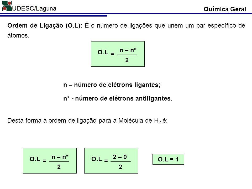 Química Geral Ordem de Ligação (O.L): É o número de ligações que unem um par específico de átomos. O.L.