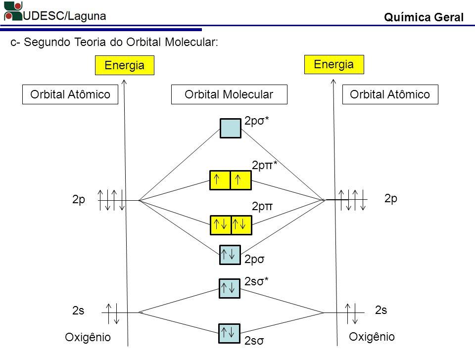 Química Geral c- Segundo Teoria do Orbital Molecular: 2s. 2p. Energia. Oxigênio. 2sσ. 2sσ* 2pσ.