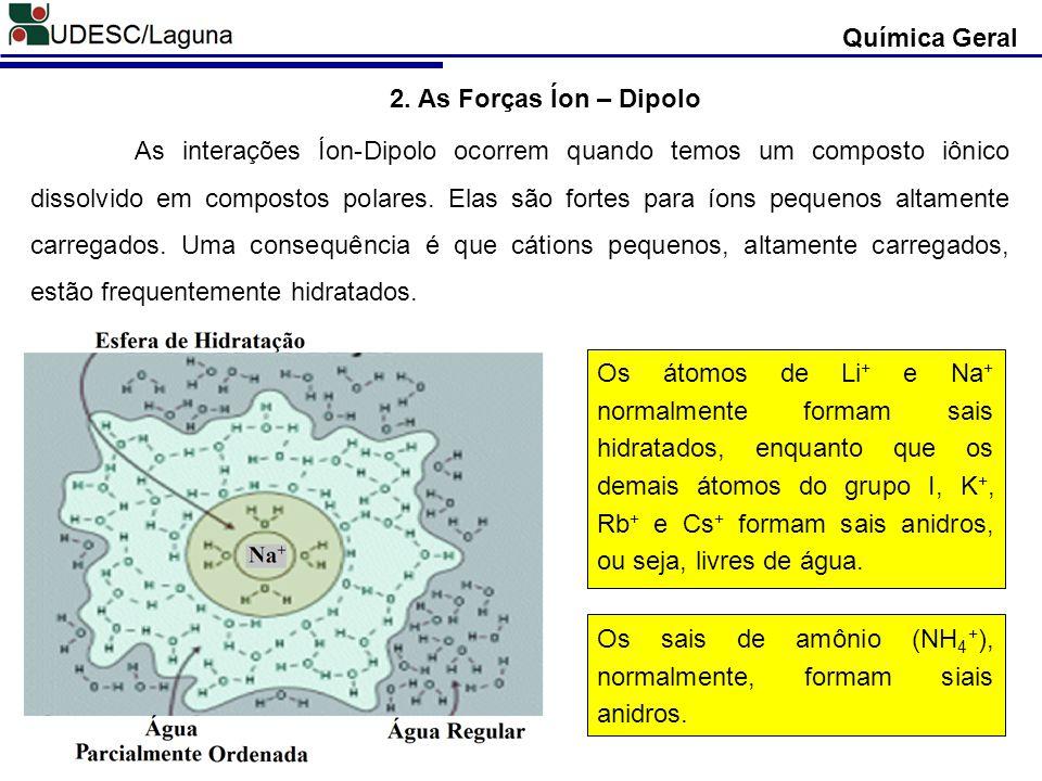 Química Geral 2. As Forças Íon – Dipolo.