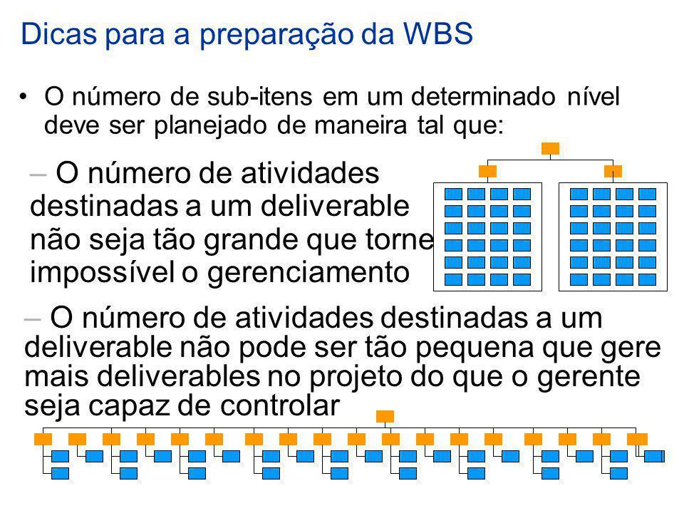 Dicas para a preparação da WBS