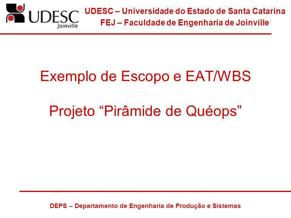 Exemplo de Escopo e EAT/WBS Projeto Pirâmide de Quéops
