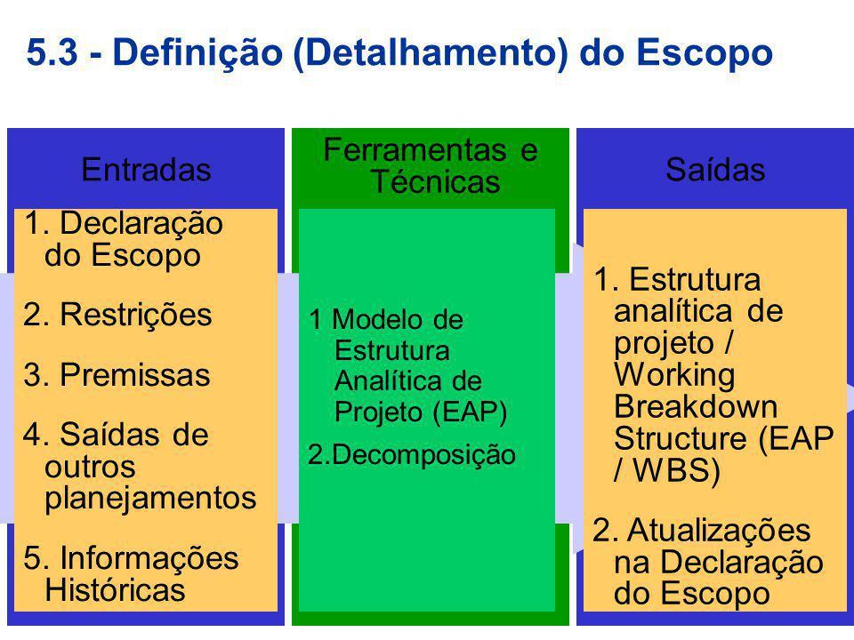 5.3 - Definição (Detalhamento) do Escopo