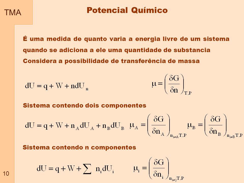 TMA 10. Potencial Químico. É uma medida de quanto varia a energia livre de um sistema quando se adiciona a ele uma quantidade de substancia.