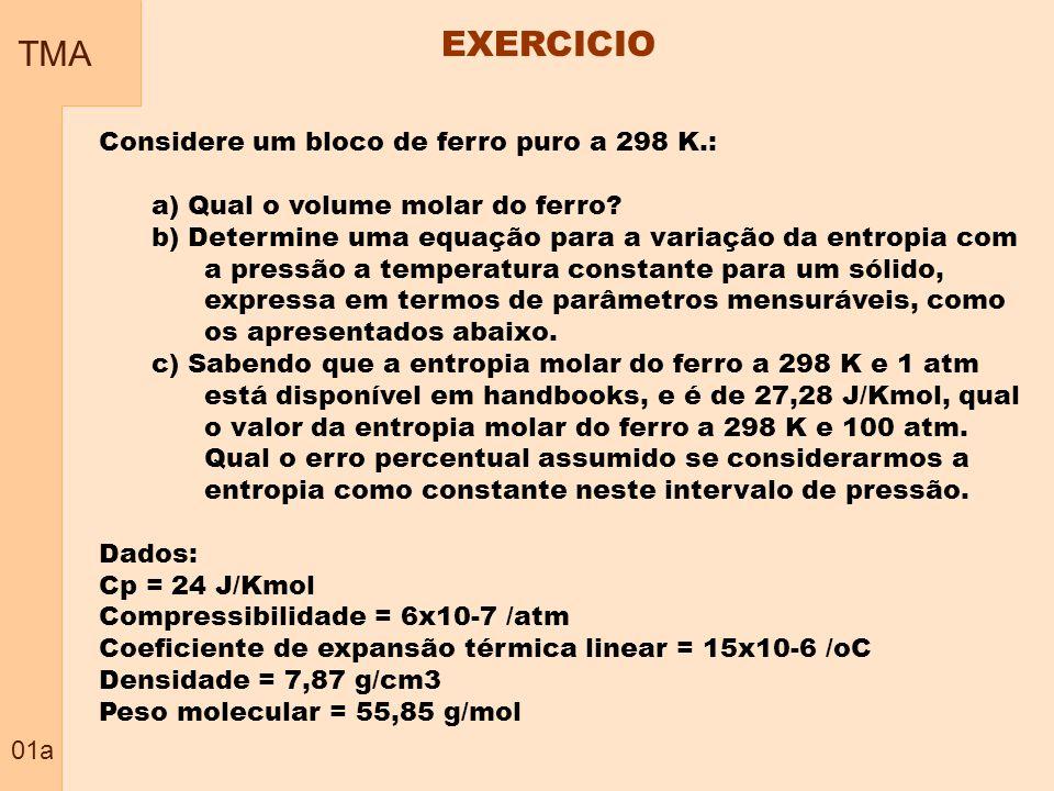 EXERCICIO TMA Considere um bloco de ferro puro a 298 K.: