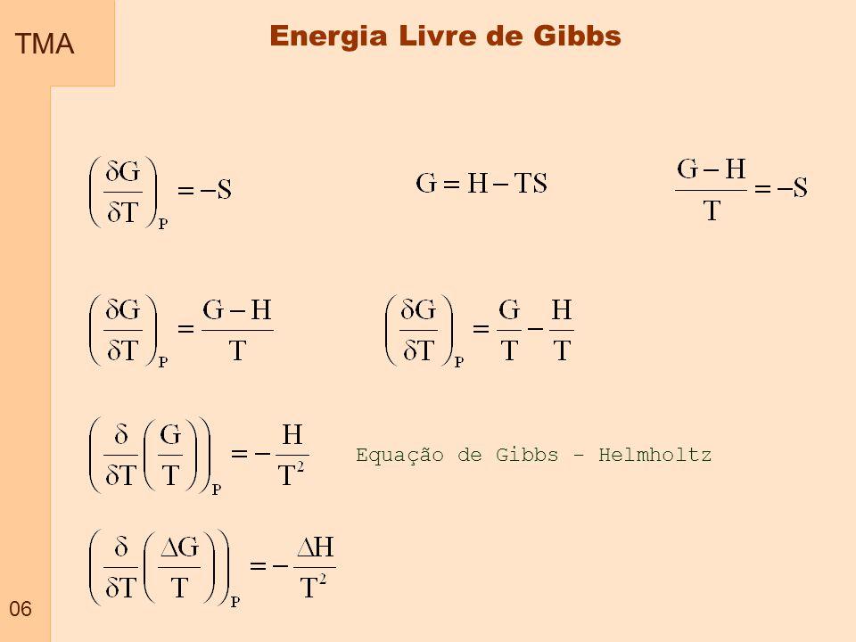 TMA 06 Energia Livre de Gibbs Equação de Gibbs - Helmholtz