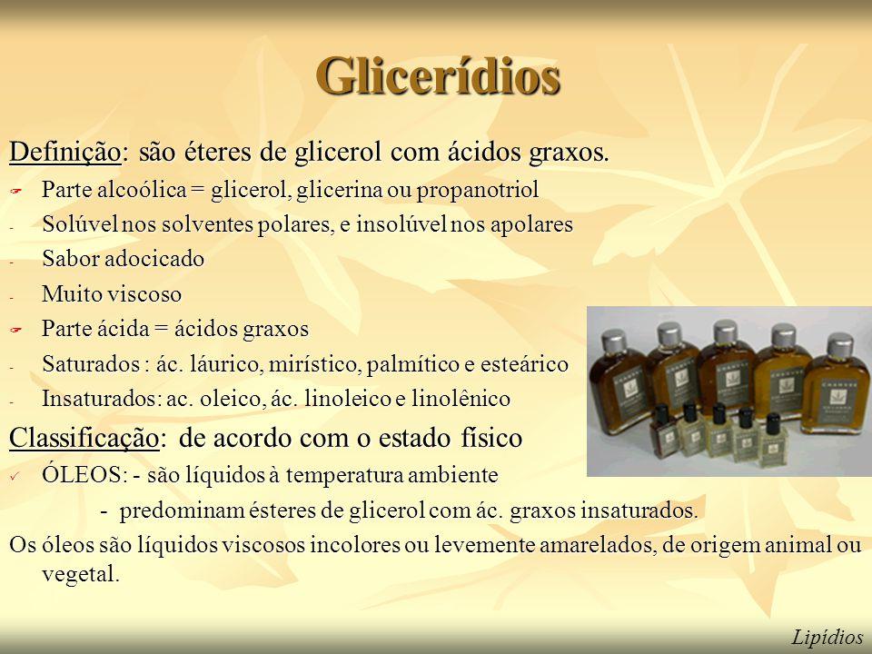 Glicerídios Definição: são éteres de glicerol com ácidos graxos.