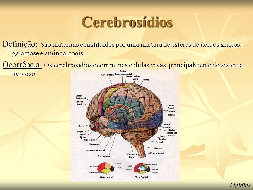 Cerebrosídios Definição: São materiais constituídos por uma mistura de ésteres de ácidos graxos, galactose e aminoálcoois.