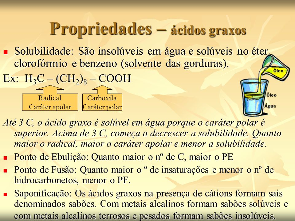 Propriedades – ácidos graxos