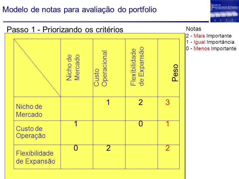 Modelo de notas para avaliação do portfolio