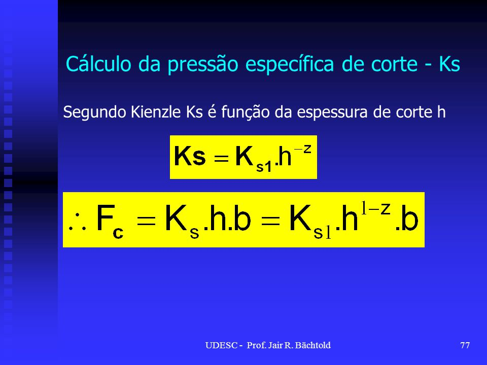 Cálculo da pressão específica de corte - Ks