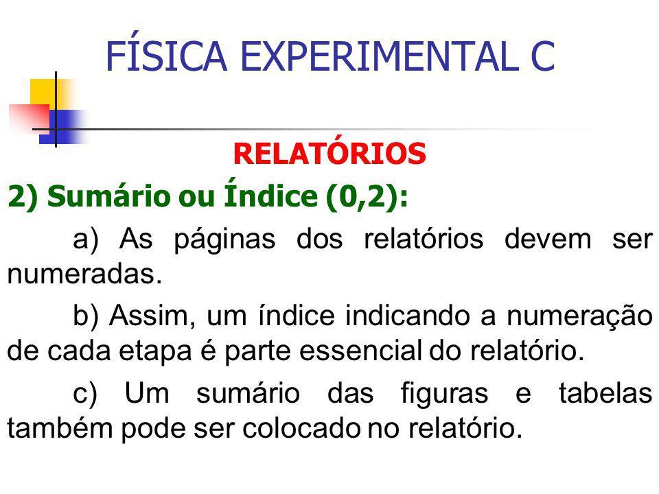 FÍSICA EXPERIMENTAL C RELATÓRIOS 2) Sumário ou Índice (0,2):