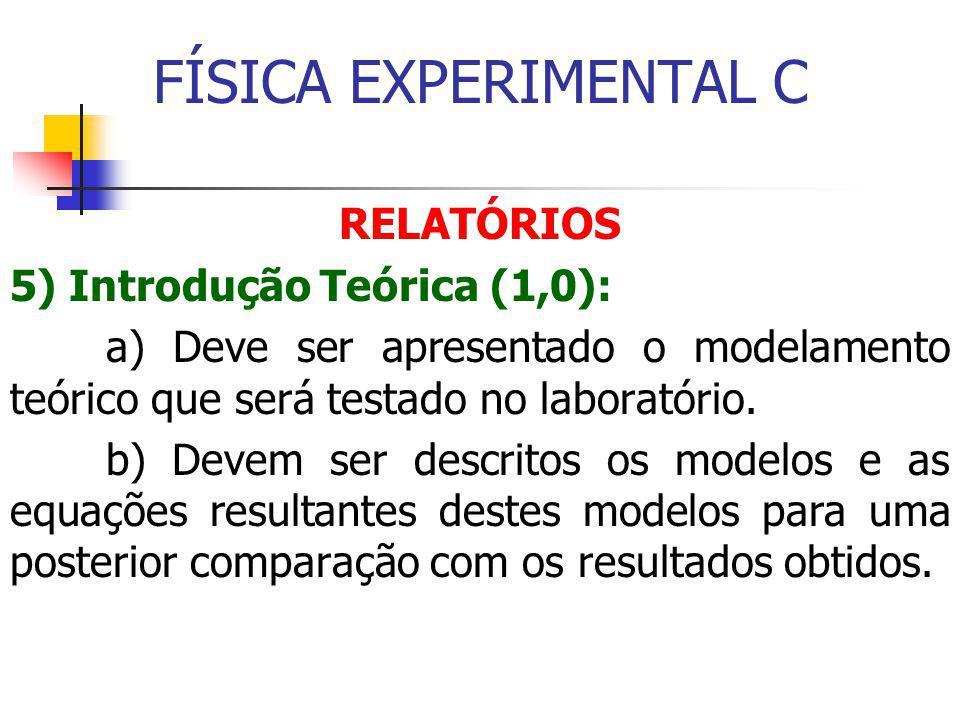 FÍSICA EXPERIMENTAL C RELATÓRIOS 5) Introdução Teórica (1,0):
