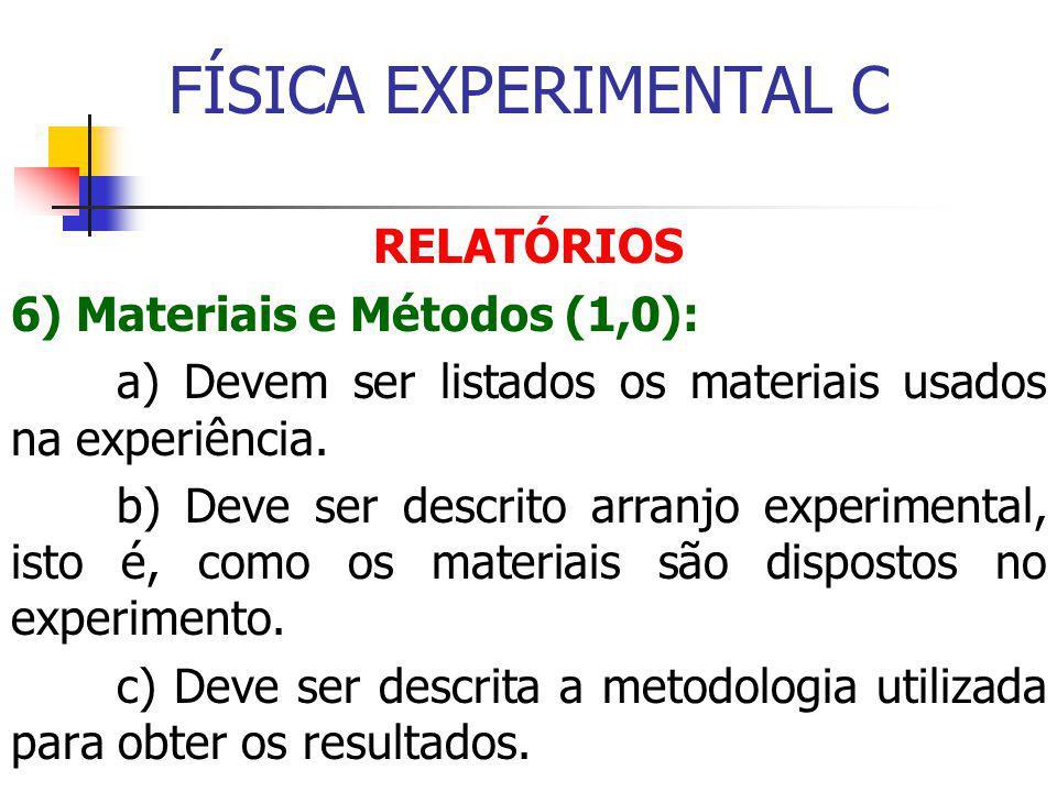 FÍSICA EXPERIMENTAL C RELATÓRIOS 6) Materiais e Métodos (1,0):