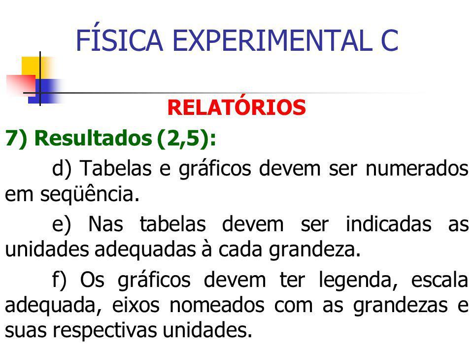 FÍSICA EXPERIMENTAL C RELATÓRIOS 7) Resultados (2,5):