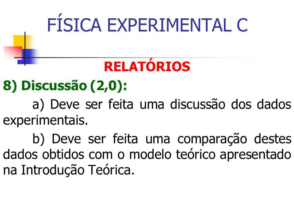 FÍSICA EXPERIMENTAL C RELATÓRIOS 8) Discussão (2,0):