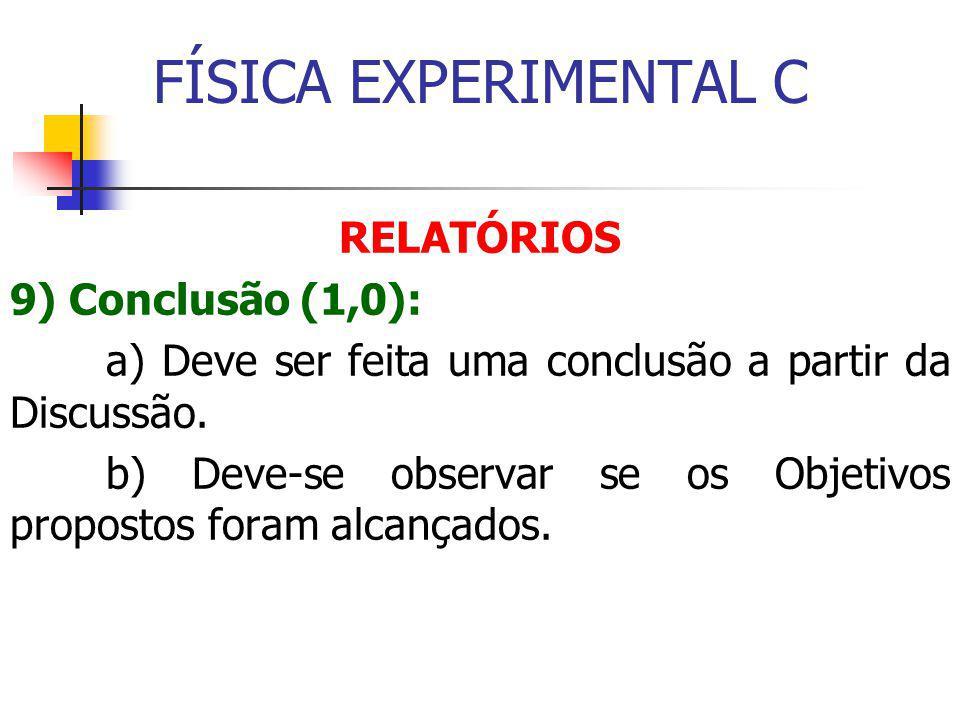 FÍSICA EXPERIMENTAL C RELATÓRIOS 9) Conclusão (1,0):