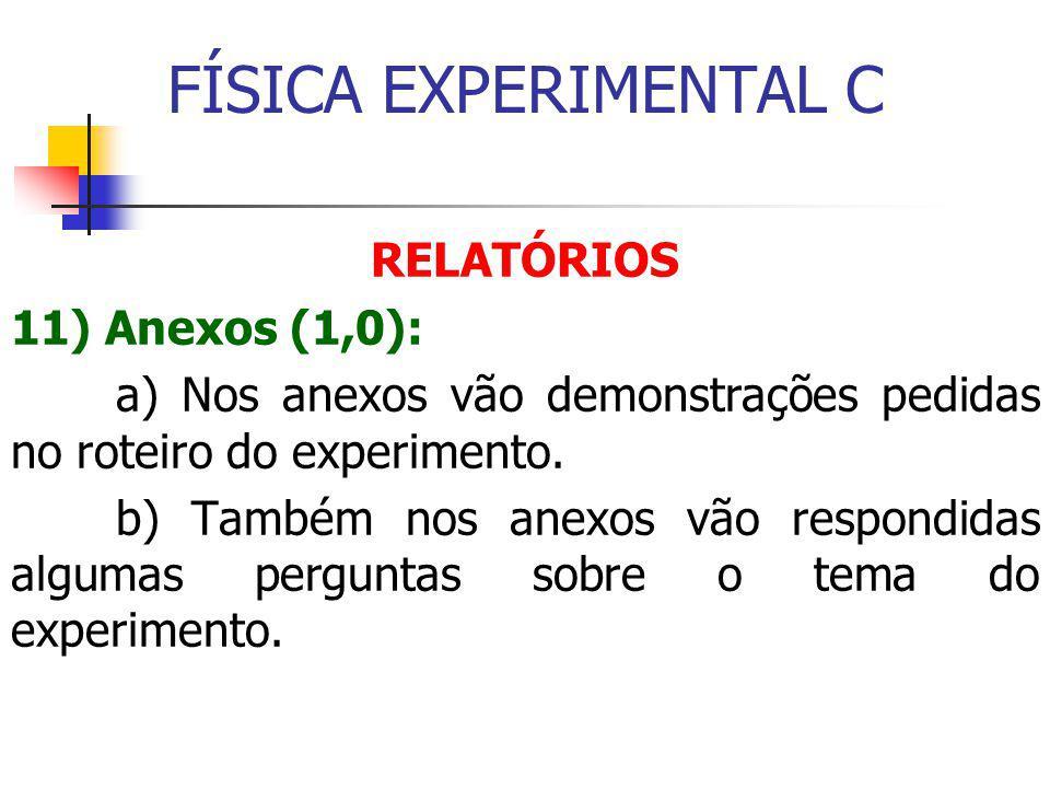 FÍSICA EXPERIMENTAL C RELATÓRIOS 11) Anexos (1,0):