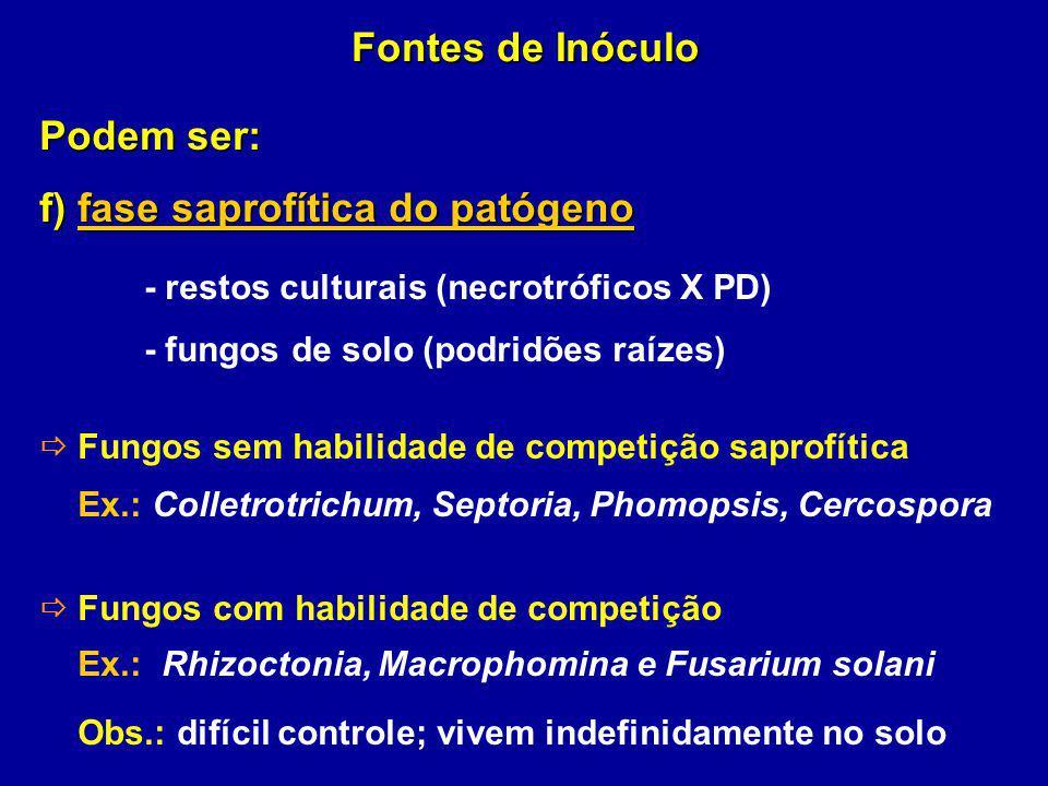 - restos culturais (necrotróficos X PD)
