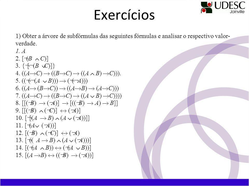 Exercícios 1) Obter a árvore de subfórmulas das seguintes fórmulas e analisar o respectivo valor-verdade.