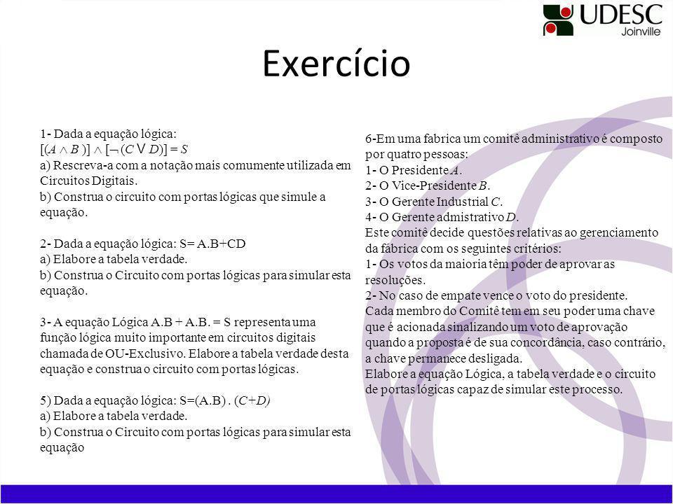 Exercício 1- Dada a equação lógica: