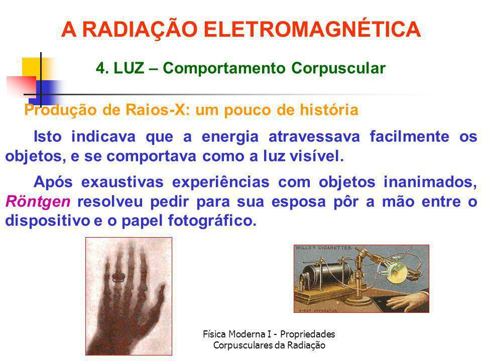 A RADIAÇÃO ELETROMAGNÉTICA 4. LUZ – Comportamento Corpuscular