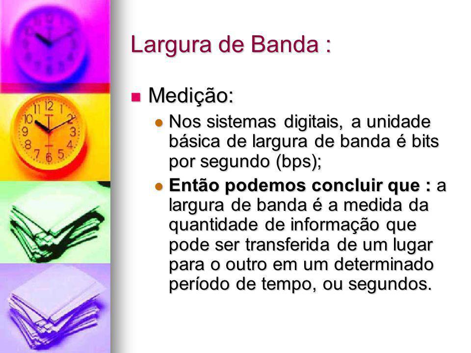 Largura de Banda : Medição: