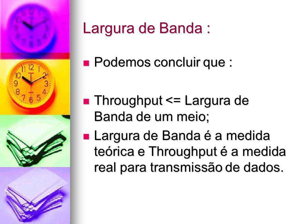 Largura de Banda : Podemos concluir que :