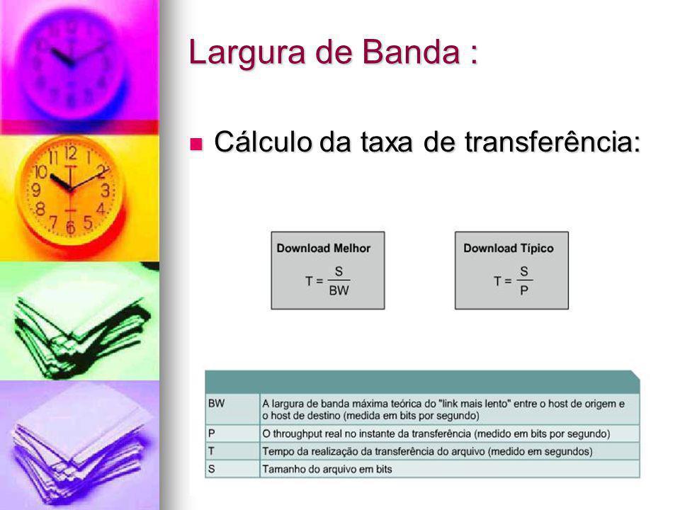 Largura de Banda : Cálculo da taxa de transferência: