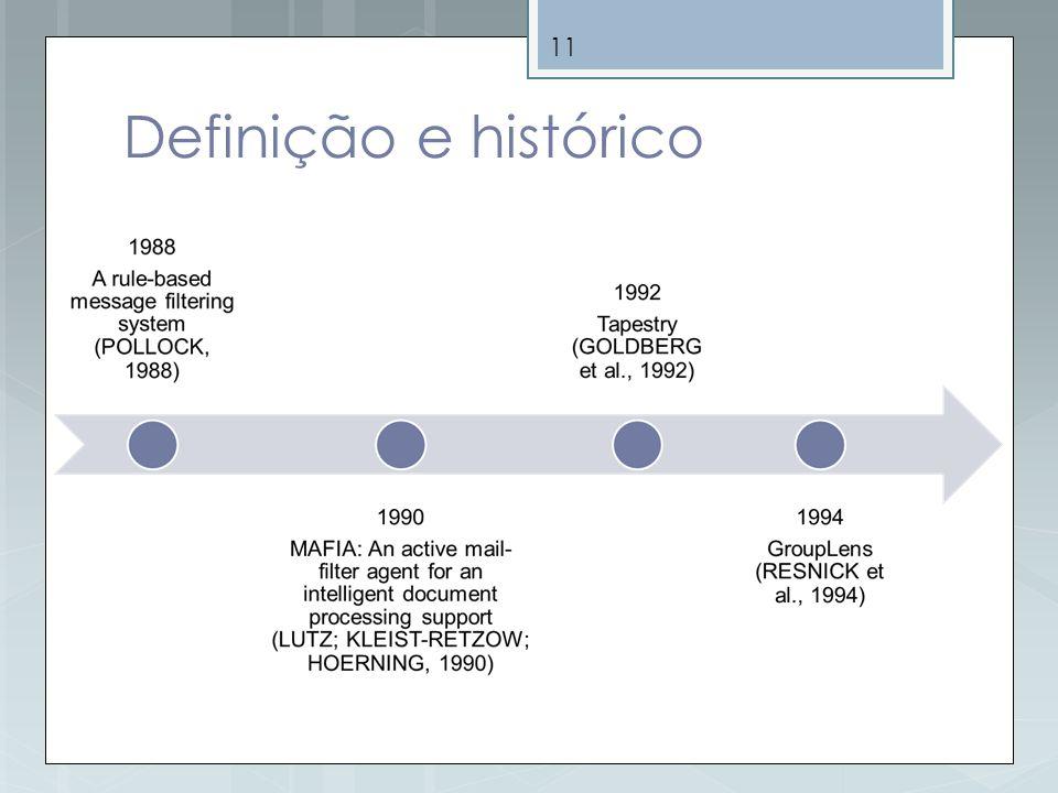 Definição e histórico Os sistemas de recomendação iniciais foram os sistemas de filtragem de informação.
