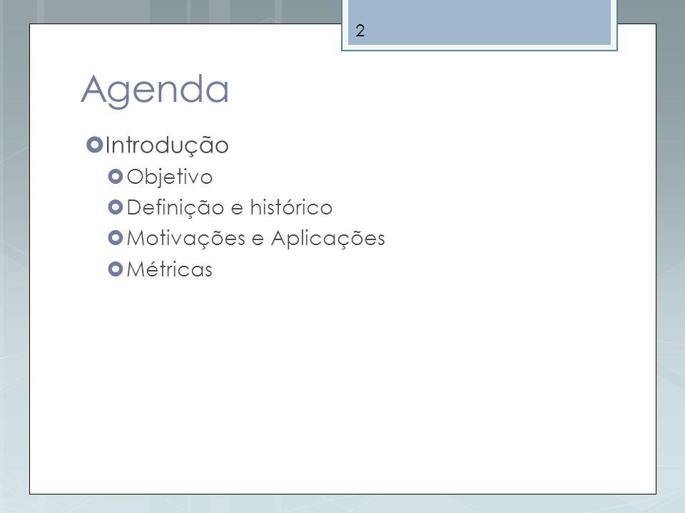 Agenda Introdução Objetivo Definição e histórico