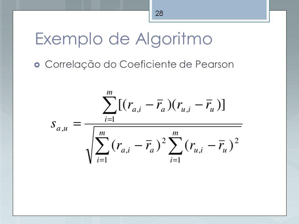 Exemplo de Algoritmo Correlação do Coeficiente de Pearson