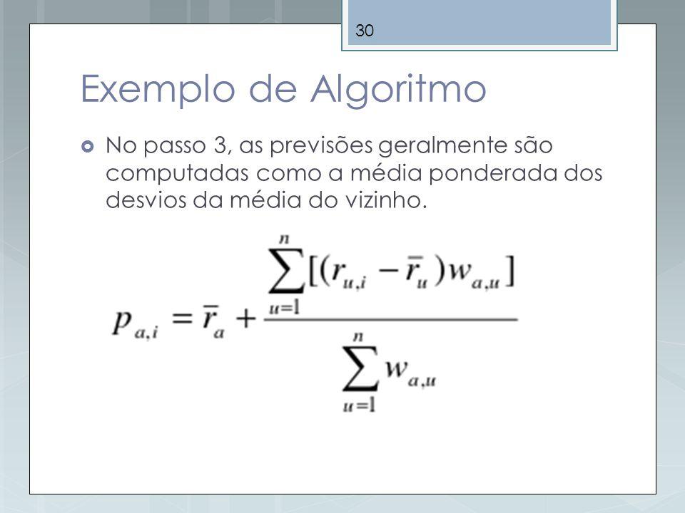 Exemplo de Algoritmo No passo 3, as previsões geralmente são computadas como a média ponderada dos desvios da média do vizinho.