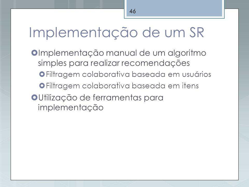 Implementação de um SR Implementação manual de um algoritmo simples para realizar recomendações. Filtragem colaborativa baseada em usuários.