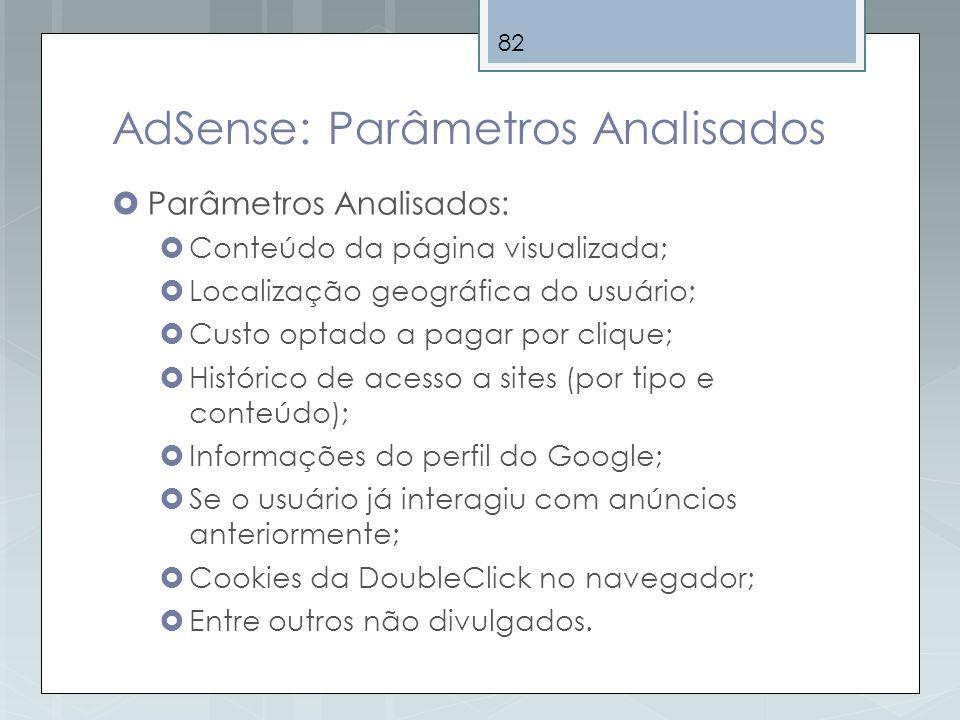 AdSense: Parâmetros Analisados