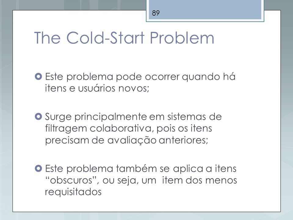 The Cold-Start Problem