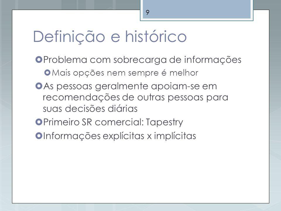 Definição e histórico Problema com sobrecarga de informações