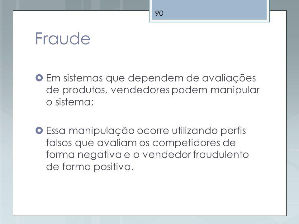Fraude Em sistemas que dependem de avaliações de produtos, vendedores podem manipular o sistema;