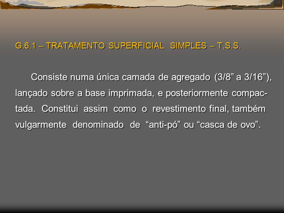 G. 6. 1 – TRATAMENTO SUPERFICIAL SIMPLES – T. S. S