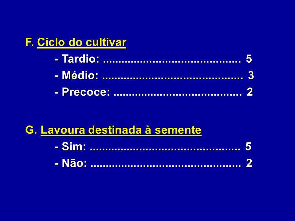 F. Ciclo do cultivar - Tardio: ............................................ 5. - Médio: ............................................. 3.