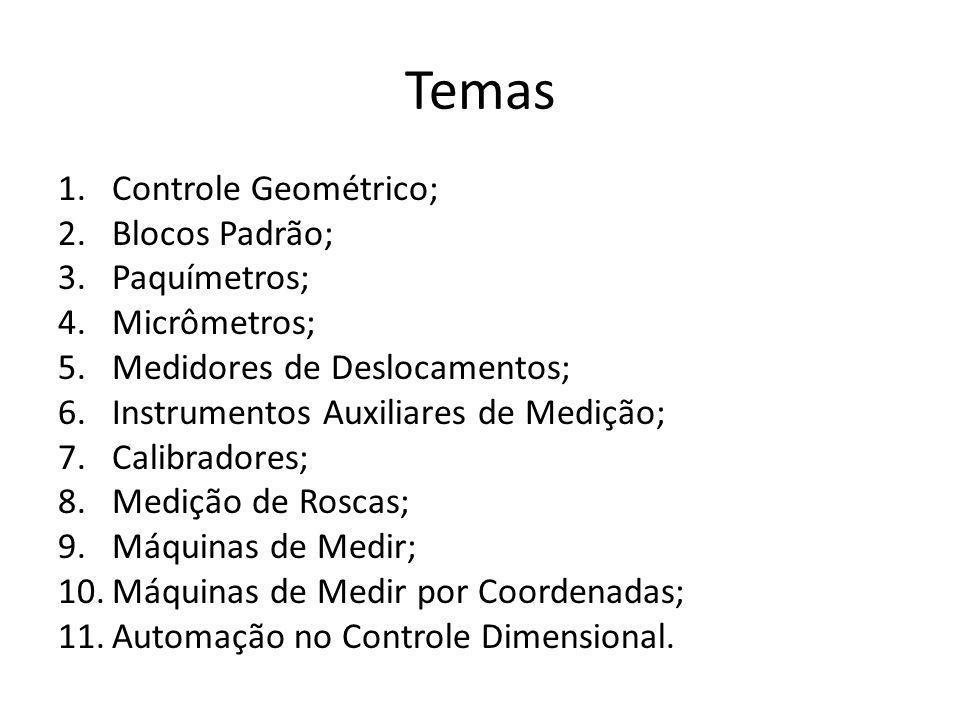 Temas Controle Geométrico; Blocos Padrão; Paquímetros; Micrômetros;