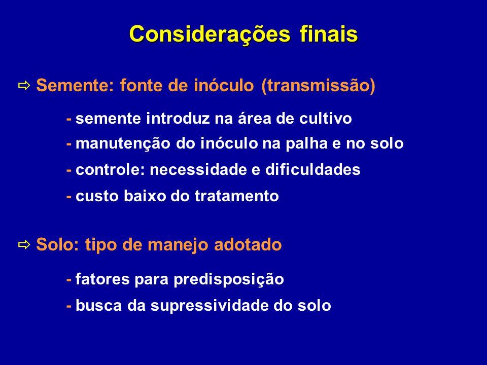 Considerações finais  Semente: fonte de inóculo (transmissão)