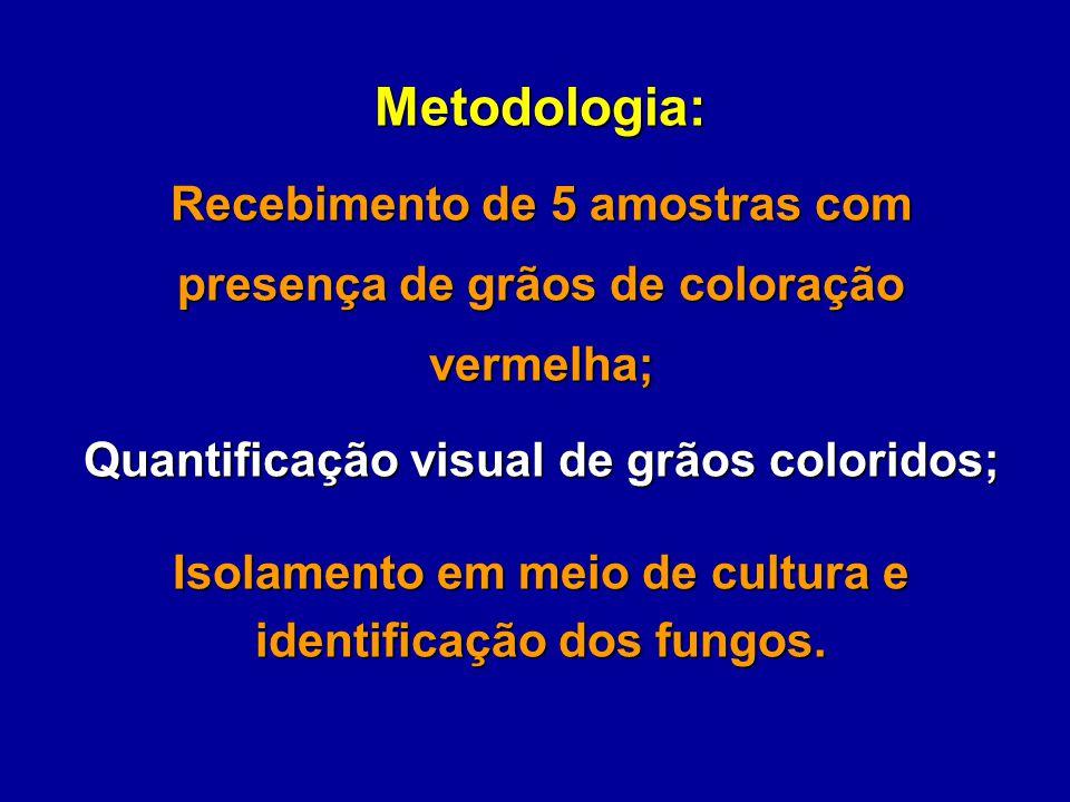 Metodologia: Recebimento de 5 amostras com presença de grãos de coloração vermelha; Quantificação visual de grãos coloridos;