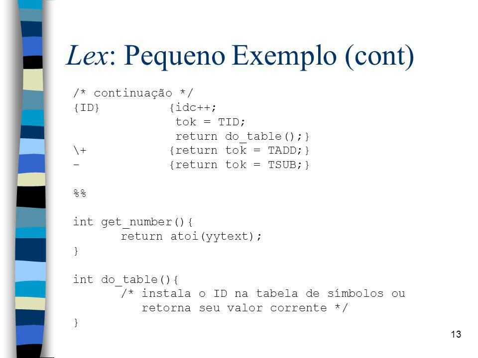 Lex: Pequeno Exemplo (cont)