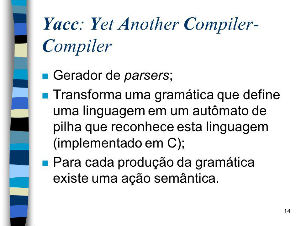 Yacc: Yet Another Compiler-Compiler