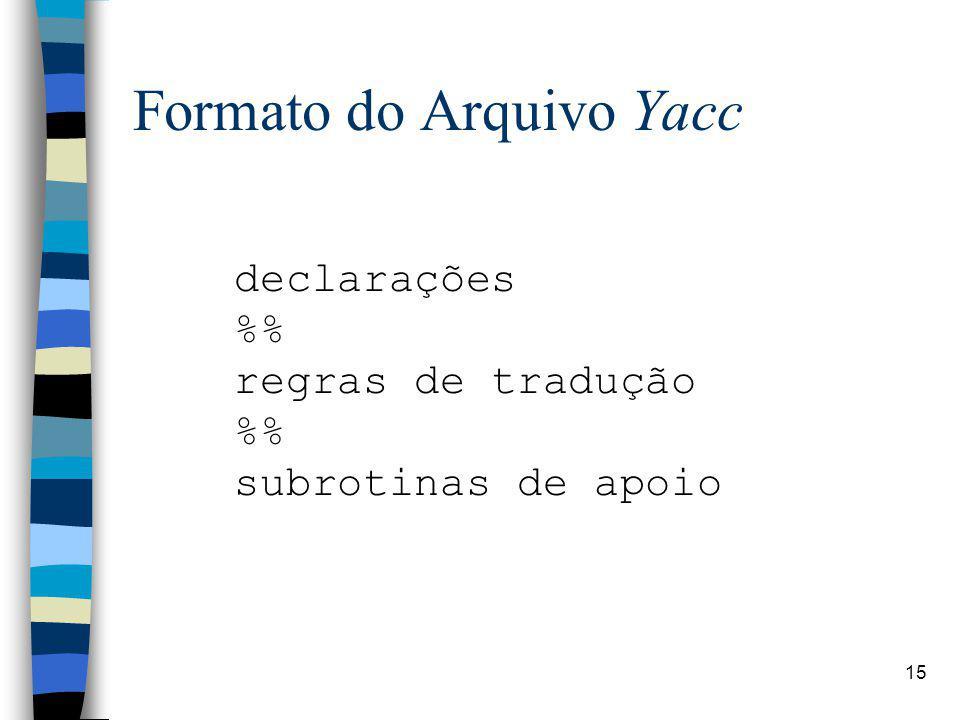 Formato do Arquivo Yacc