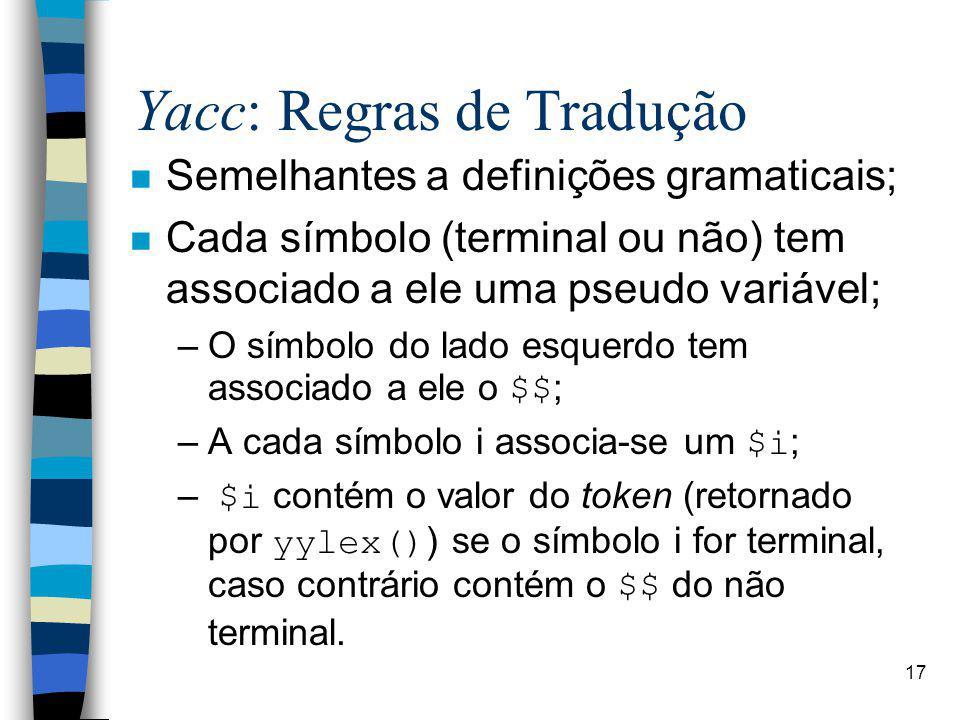 Yacc: Regras de Tradução