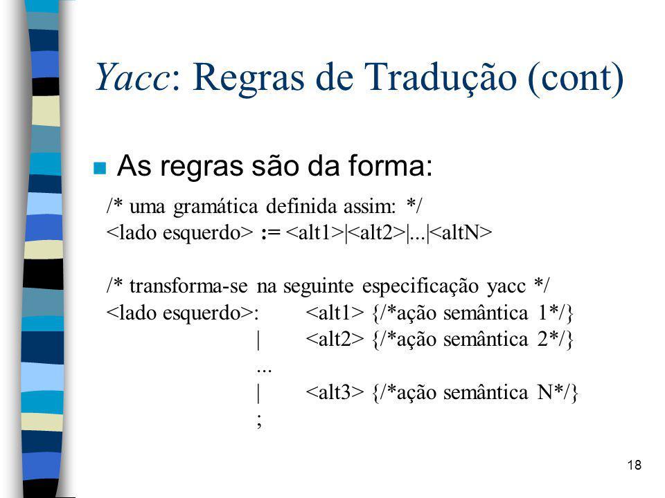 Yacc: Regras de Tradução (cont)