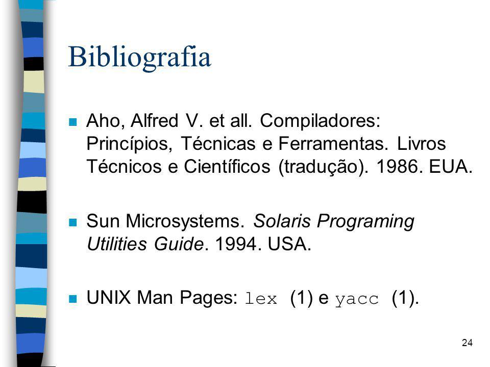 Bibliografia Aho, Alfred V. et all. Compiladores: Princípios, Técnicas e Ferramentas. Livros Técnicos e Científicos (tradução). 1986. EUA.