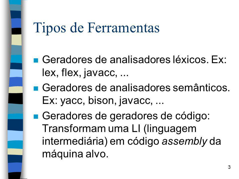 Tipos de Ferramentas Geradores de analisadores léxicos. Ex: lex, flex, javacc, ...